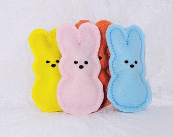 Easter Cat Toy, Pack of 4, Marshmallow Bunny, Catnip, Kittens, Kitties, Cat Nip, Embroidered Felt, Bright, High Contrast, Stuffed Cat Toys