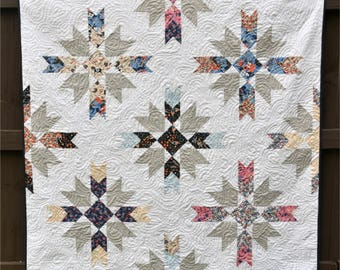 Ruby Roads - digital quilt pattern - fat eighth/fat quarter quilt pattern - a modern pattern - baby, lap, and queen sizes