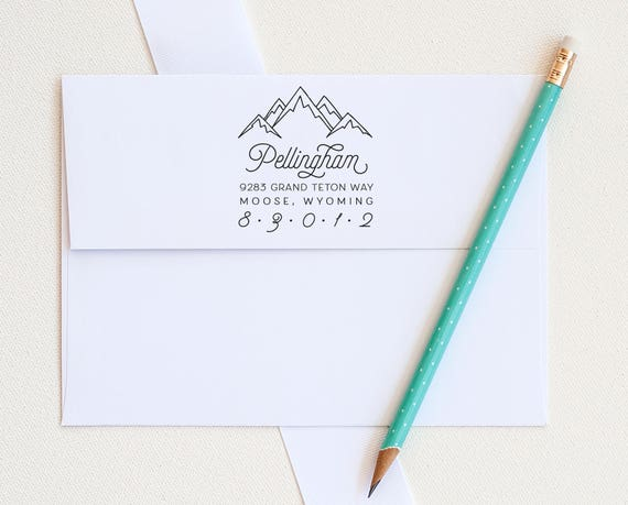 Mountain Address Stamp, Custom Address Stamp, Return Address stamp, Rustic return address stamp, Personalized stamp, Eco Friendly stamp gift