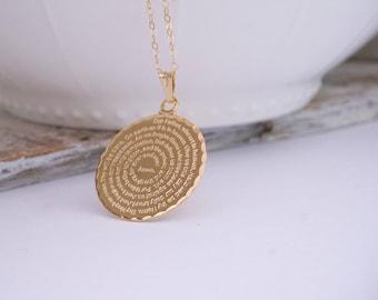 Large Gold Medallion Script Pendant Necklace, Father English Prayer Pendant, Engraved Lords Prayer, Communion, Confirmation, Wedding