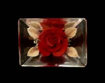 Vintage Lucite Rectangular Reverse Carved Red Rose Brooch