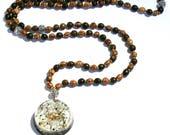 Orgone Mala Necklace - 'Sacred Intentions' - Black Tourmaline - 108 Prayer Beads - Boho Necklace, Spiritual Gift - Mantra Meditation -Medium