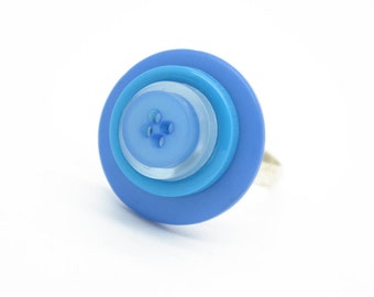 Blue Buttons - Button Ring - Button Jewellery - Button Art - Cute Rings - Mod Jewelry - Rings for Women - Girls Rings - Handmade Rings