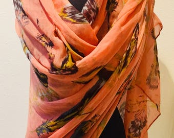 Coral / Classy Tribal Chic Large Feather Design Scarf / Wrap / Lightweight Shawl