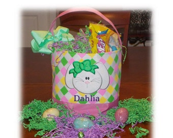 Easter Easter Basket Personalized with Embroidered Name and/or Applique for Easter Egg Hunting or Gifting.