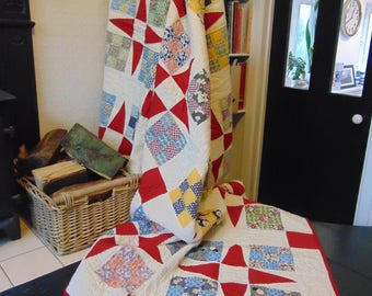 Vintage American patchwork quilt, hand-stitched quilting