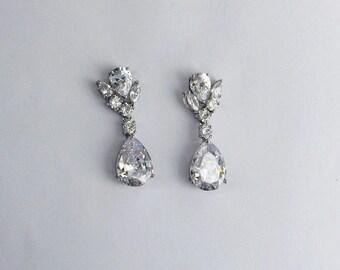 CZ Cluster drop earrings, Teardrop earrings ,Wedding earrings, Crystal chandelier earrings, Floral earrings, Dangle earrings, Silver