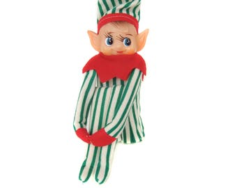 Vintage Elf Knee Hugger, Pixie Elf Shelf Sitter, Green White Striped Elf, Pointy Ears, Kitschy Christmas Elf Ornament, Knee Hugger Pixie Elf