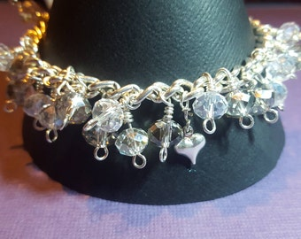 silver and clear crystal charm bracelet