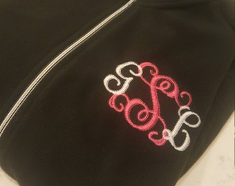 Monogram Embroidered Micro fleece Jacket.   Personalized with your Monogram (First Initial-Last Initial-Middle Initial)