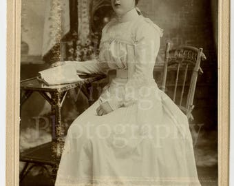 Cabinet Card Photo Victorian Young Attractive Woman in Lovely Pretty White Dress Holding Open Book Portrait - A & G Taylor, West Hartlepool