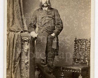 CDV Carte de Visite Photo Victorian Standing Young Man with Big Mutton Chops Portrait - Johnston Shearer of Newcastle Upon Tyne - Antique