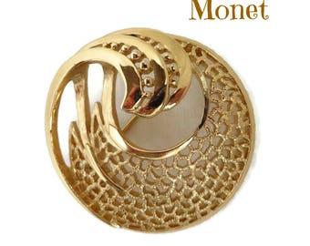 Vintage Circle Brooch - Monet Swirl Circle Pin, Gold Tone Circle Brooch, Gift for Her, Gift Box, FREE SHIPPING