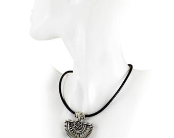 Bohemian necklace with large silver tone pendant on Black leather statement necklace Gift for her Boho Jewellery