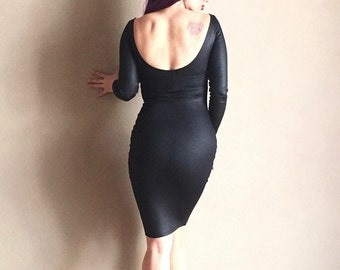 Sexy Black COCKTAIL Party Dress, Wet Look, 50s 60s Bad Girl Pencil Dress, Hi Neck and Low Back, Custom Handmade by Hardley Dangerous
