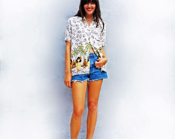42b5ef18 Hawaiian Shirt, Vintage 80s Shirt, Palm Tree Shirt, Hawaii Shirt, Hula Girl
