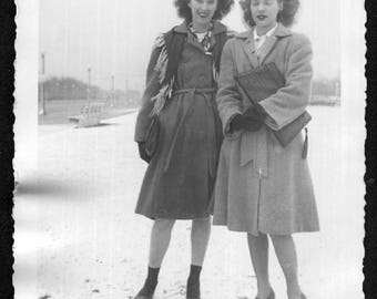 Vintage Snapshot Photo Girlfriends Stand in Snow Frizzy Hair Eyes Closed 1940's, Original Found Photo, Vernacular Photography