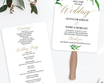 wedding fan template etsy
