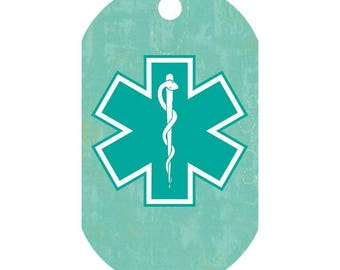 Custom Medical Alert Necklace in Soft Brushed Teal   Medic Tag   Medical Alert ID   Medical Alert Jewelry   Front and Back Included