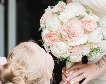 Blush Pink & Cream Sola Wood Bouquet, Blush Pink and Ivory Wedding Bouquet, Blush Pink Sola Bouquet, Pink Bouquet, Blush Pink Sola Flowers