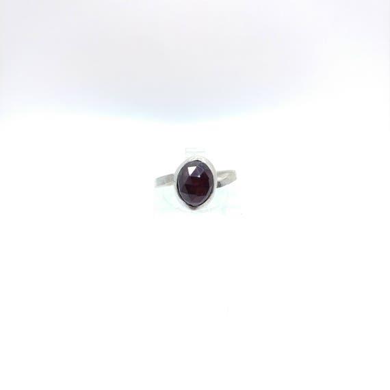 Rose Cut Ruby Ring | Deep Blood Red Ring | Ruby Knuckle Ring | Sterling Silver Ring Sz 5.5 | Red Ruby Ring | July Birthstone Ring