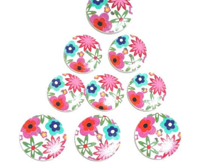9 Assorted Mixed Floral Wooden Buttons featuring flowers in hot pink orange and blue