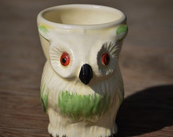 Vintage Egg Cup, Figural Owl, Keele Street Pottery, England, Hand Painted Egg Holder, Cottage / Farmhouse Kitchen Collectibles, Easter Decor