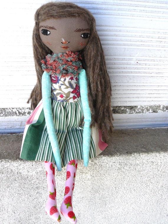 Articulated black rag doll. Alpaca and wool long hair, 33 cm