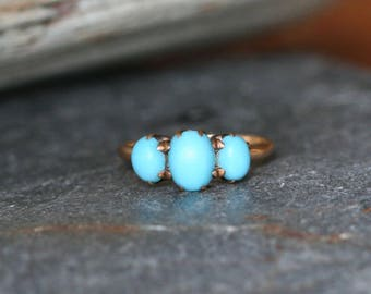 Victorian Turquoise Three Stone Ring in 10k Rose Gold - JL1030