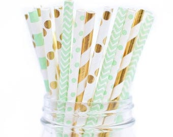 Elegant Mint Gold Straws, Gold Mint Party Mint Baby Shower Straws, Mint Green  Straws,