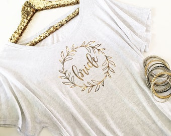 Bride Tunic - Matron of Honor Shirt - Maid of Honor Tunic - T Shirt - Bridesmaid Top - Mother of the Bride Tunic - Bridal Party Shirt 3202WR