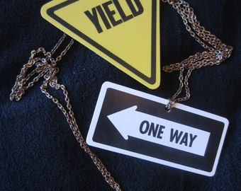Vintage Street Sign Highway Sign  Necklaces Yield One Way Music for Modern Americans