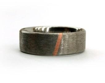 Minimalist Ring, Wedding Ring, Simple Modern Ring, Rose Gold Ring, Titanium Ring, Men Ring, Women Ring, Ring with Inlay, Metal Inlay Ring