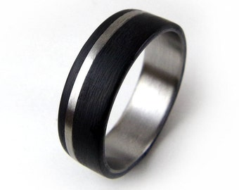 Carbon Fiber Ring, Titanium Ring, Black Metal Ring, Metal Wedding Band, Metal Engagement Band, Handmade Metal Ring, Carbon Ring