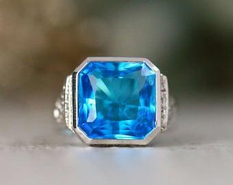 Modern Swiss Blue Topaz Bezel Statement Ring   Solid 14K Gold   Bezel and Pave Setting   Polished Finish   Fine Jewelry   Free Shipping
