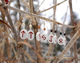 Multiple Runes Available - Norse Rune Dangle Earrings on Stone Color Clay w/ Wooden Beads, Viking, Nordic, Elder Futhark Jewelry, Red, Pagan