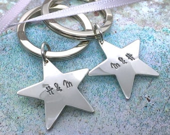 Couple's personalised Sterling Silver Star Keyring Set Valantine's  anniversary  handmade  new home  gift for couple  wedding