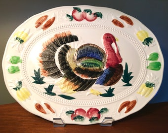 Large oval colorful hand painted ceramic Thanksgiving turkey platter made in Japan