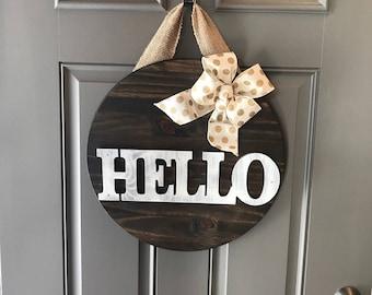 Hello Door Sign, Hello Door Hanger, Hello Front Door Decor, Welcome Sign, Anniversary Gift, Housewarming Gift, All Year Door Hanger