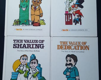 1970s Value Tale Books (set of 4)- Responsibility/Believing in Yourself/Sharing/Dedication