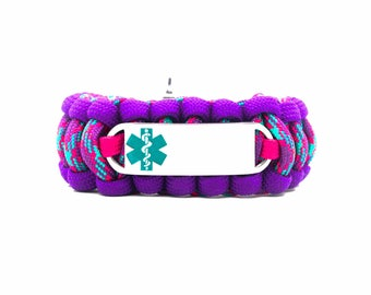 Custom 550 Paracord Bracelet Medical ID - Personalized Engraved Teal Stainless Steel Medical ID Bracelet Includes FREE Engraving