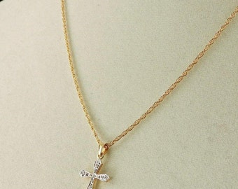 14k Yellow And White Gold Cross Pendant Necklace With 14 Round Diamond Accents 18""