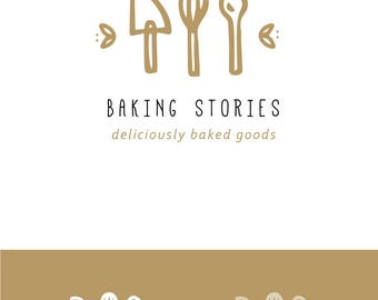 bakery logo design - hand drawn baking illustrated spatula whisk premade cute modern simple