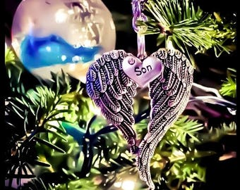 Heavenly Guardian Angel Wings Christmas Tree 20 relationships holiday Tree Ornament Rearview Mirror Decor  | funeral gift | cemetary fixture