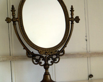 Vintage Vanity Mirror - Brass Small Vintage Art Nouveau Mirror - Oval Dessing Table Mirror - Free Standing Swivel Mirror