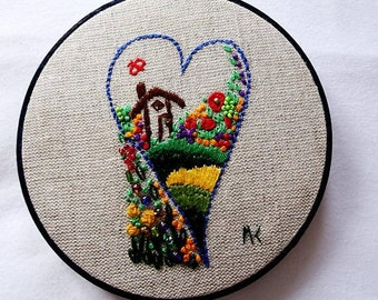 Heart, Heart, embroidery, Embroidery, hoop, hoop, 5 1/4 in/14 cm, CE06