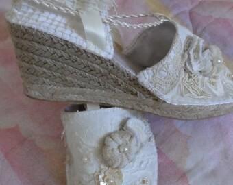 Glitter shoes made of linen and antique lace