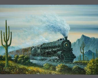 Vintage Oil Painting Locomotive Railway Cactus 24 x 36
