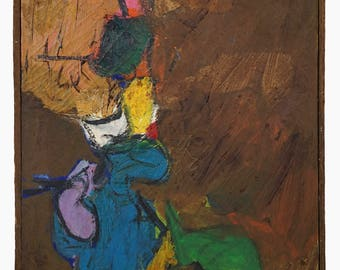 1963 Angel Harris Abstract Tempera Painting Canvas Abstraction Mid Century Decor MCM MOD Art Vintage