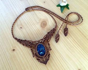Azurite macrame necklace, macrame jewelry, tribal necklace, azurite jewelry, macrame stone, gemstone necklace, bohemian jewelry